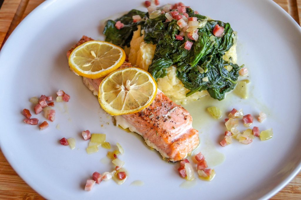 salmon, spinach, food